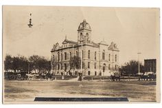 Vintage original Real Photo postcard RPPC showing the Courthouse at Fairbury, Nebraska. Card is used with 1911 Fairbury, Nebraska cancellation. Mailed to Helvey, Nebraska. Condition is good with two l