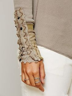 Free People Kyoto Cuff Thermal Top Shirt Mushroom XS s M L | eBay - love the little sliver of lace