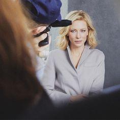 Cate Blanchett at a behind the scenes image for her Armani campaign #cateblanchett #armani #georgioarmani @armanibeauty @armani