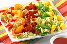 Combine colors of the rainbow in this Crunchy Napa Cabbage Salad recipe. Turkey bacon adds savory flavor to this vibrant Napa cabbage salad. Napa Cabbage Recipes, Napa Cabbage Salad, Cabbage Slaw, Side Salad Recipes, Appetizer Recipes, Healthy Recipes, Healthy Food, Marinated Vegetables, Meat Lasagna