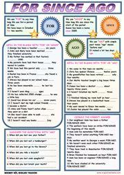 For Since Ago ESL Grammar Exercises Worksheet