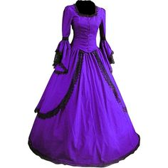 Partiss Women Lace Floor-length Gothic Victorian Dress ($90) ❤ liked on Polyvore featuring dresses, lacy dress, purple lace dress, victorian goth dress, floor length dresses and purple dress