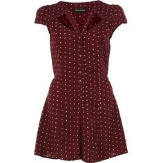 River Island Red polka dot cut out playsuit ($32) ❤ liked on Polyvore featuring jumpsuits, rompers, dresses, playsuits, red jump suit, red romper jumpsuit, cap sleeve jumpsuit, playsuit jumpsuit and playsuit romper