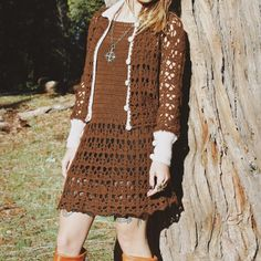 Just added this vintage 1960s / 1970s  Set to the site. Matching crochet mini-dress + sweater.