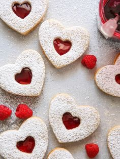 These heart-shaped almond cookies sandwiched with raspberry jam make such a beautiful treat! Come on, you guys knew I had a heart-shaped dessert coming! How could I not, with Valentine's right around Linzer Cookies, Jam Cookies, Heart Cookies, Almond Cookies, Sandwich Cookies, Heart Shaped Cookies, Baking Cookies, Fudge Recipes, Cookie Recipes