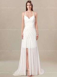 Playful Chiffon casual beach wedding dress is a hot style that you have been dreaming about. It features a sexy halter strap with all over draping on the bodice. You will love the high slit in the front. The back is finished with corset closure and zipper.