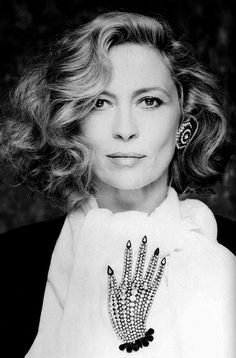 Faye Dunnaway wears Butler and Wilson