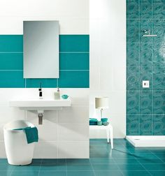 White Bathroom Wall Tiles Design Ideas - The Best Image Search Turquoise Bathroom Decor, Bathroom Colors, White Bathroom, Bathroom Wall, Modern Bathroom, Small Bathrooms, Room Tiles, Wall Tiles, Bathroom Tile Designs