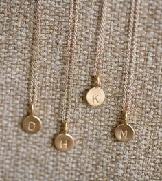 14k Gold Vermeil Tiny Initial Necklace from Anne Kiel Jewelry