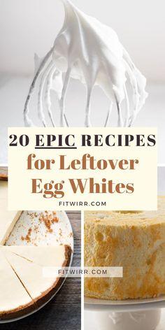 Egg White Dessert, Egg White Bake, No Egg Desserts, Desserts To Make, Baking Recipes, Cake Recipes, Dessert Recipes, Healthy Recipes, Recipe Using Egg Whites