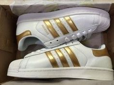 Adidas Superstar Leather White Golden Shell Toe Trainers | superstar