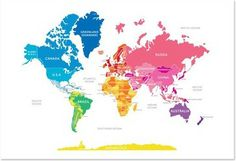 English Muffin Bright World Map - modern - kids decor - portland - fawn