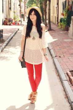 red pants, casual neutral blouse
