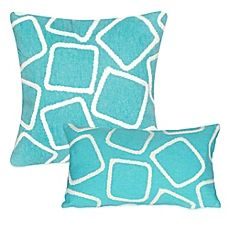 image of Liora Manne Squares Outdoor Throw Pillow in Aqua Turquoise Cushions, All The Small Things, Backrest Pillow, Outdoor Throw Pillows, Wedding Gift Registry, Fine China, Bedding Shop, Bath Towels, Squares