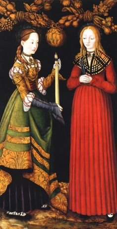 Cranach d. Ae. 1472-1553, Lucas, Kronach Oberfranken, Germany Saints Genevieve and Apollonia