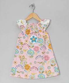 Take a look at this Pink Floral Angel-Sleeve Dress - Toddler & Girls by Tutu & Lilli on #zulily today!