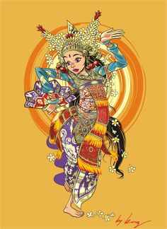 bali dance by vektorkong Bali Painting, Dance Vector, Indonesian Art, Car Illustration, Traditional Tattoo, Traditional Ideas, Dance Photography, Photography Ideas, Trendy Tattoos