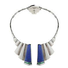 Nikos Koulis Universe necklace with lapis lazuli, brown diamonds and emerald baguettes.