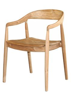 Teak wood with a varied grain appearance work together with the shape of the chair to create a mid-century modern piece for your home.