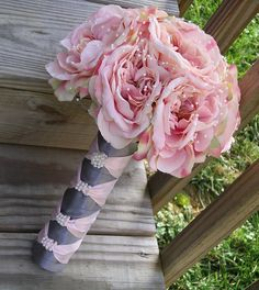 Garden Fresh Premium Rose Hand Tied Wedding Bouquet in Pink & Gray with Pearls, perfect for a Garden, Shabby Chic, Vintage, Spring or Winter