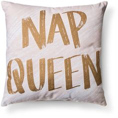 """Blush """"Nap Queen"""" Throw Pillow - Xhilaration™ : Target (125 BOB) ❤ liked on Polyvore featuring home, home decor, throw pillows, target toss pillows, target throw pillows, target accent pillows and blush throw pillows"""
