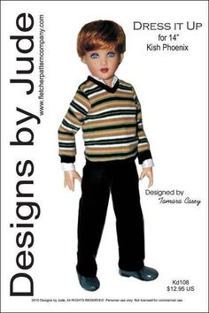 """Dress it Up Doll Clothes Sewing Pattern  for 14"""" Kish Phoenix   #DesignsbyJude"""