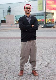 """Timo    """"I shop and wear mostly second hand because there's no point in making new things in this world. I avoid wearing brands and logos. I like well-fitting clothes. I tapered my pants with help from my friend.  I appreciate people who have their own style and are proud of it."""""""