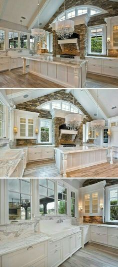 Wood-Mode kitchen with white cabinets and marble countertops. Photo from- Caitlin WellingWood-Mode kitchen with white cabinets and marble countertops. Photo from- Caitlin Welling Beautiful Kitchens, Beautiful Homes, House Beautiful, Wood Mode, Home Fashion, Style At Home, My Dream Home, Dream Homes, Future House
