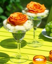 You can use any type of wine glass or margarita glass for a centerpiece!