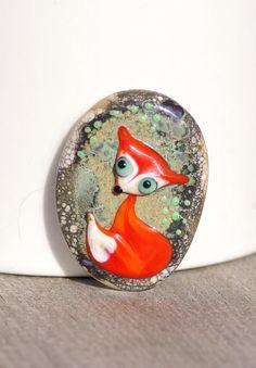 Fox lampwork glass cabochon handmade orange fox by LailaStrazdina