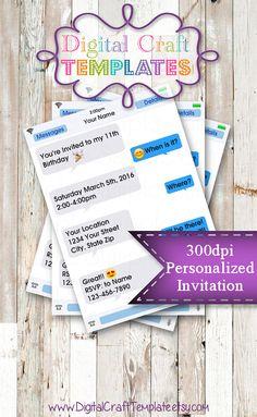ON SALE Personalized Printable Invitations | Teen | Pre-Teen | Text Invitation 2 | Emoji | Birthday |   #365
