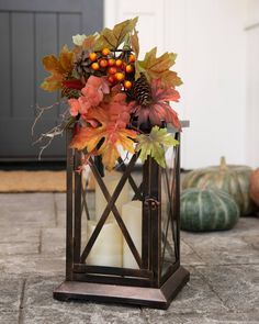 Front Porch Decorating Set the mood for tranquil evenings with the soothing glow of candlelight. Add this lantern to your porch steps, mantels, and windows for a romantic touch. Fall Lanterns, Christmas Lanterns, Christmas Tree, Thanksgiving Decorations, Seasonal Decor, Christmas Decorations, Thanksgiving Diy, House Decorations, Autumn Decorating