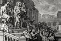 Phillip Medhurst presents John's Gospel: Bowyer Bible print 5543 Jesus is condemned John 19:5 Mortier's Bible on Flickr. A print from the Bowyer Bible, a grangerised copy of Macklin's Bible in Bolton Museum and Archives, England.