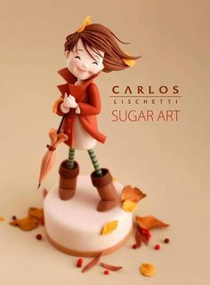 Edible Art, Girl in the Wind, Fall themed Cake. <3
