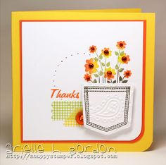 cute use of embossing, pop dots and a corner rounder