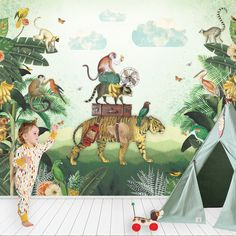 Kinderbehang #Jungle #kidswallpaper | Pimpelmees via Kinderkamerstylist.nl