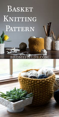 Grab this FREE Imagination Basket Knitting Pattern. The basket and bottom are knit-in-the-round separately and then crocheted together + video You are in the right place about baskets decor kitchen He Easy Knitting, Knitting Patterns Free, Knitting Ideas, Knitting Blankets, Knit Patterns, Summer Knitting Projects, Yarn Projects, Crochet Projects, Crochet Plant Hanger