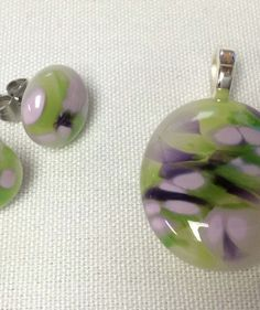 Spring is in the air... Unique, fused glass pendant and earrings, designed and handcrafted by SpallekGlassArt.