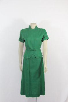 1940s Vintage Dress  Emerald Green Linen by VintageFrocksOfFancy, $190.00