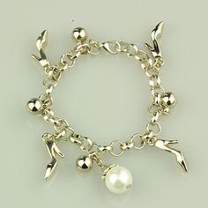 Fashion Glass Pearl Bracelets, with CCB Acrylic Pendants