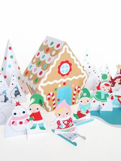 Candy Cane Gingerbread Cottage Playset Printable Paper Craft PDF. $3.00, via Etsy.
