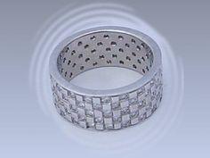 Men's Palladium and Diamond Wedding Band over 3 carats of Diamonds Custom Made cross hatch design - 10mm wide