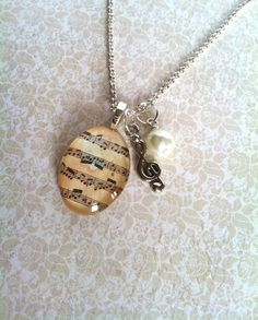 Family Decor Flute and Music Music Teacher Pendant Necklace Cabochon Glass Vintage Bronze Chain Necklace Jewelry Handmade