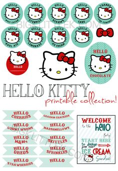 red and teal hello kitty party printables by bigKlittlekdesigns
