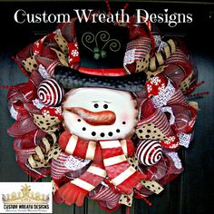 This is a red and silver plaid wreath trimmed in snowflake ribbon and polka dot burlap ribbon and a red/silver stripe ribbon with fuzzy white Snowman Wreath, Christmas Snowman, Christmas Holidays, Christmas Crafts, Happy Holidays, Wreaths And Garlands, Deco Mesh Wreaths, Holiday Wreaths, Winter Wreaths