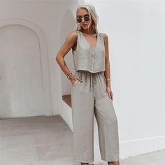 2021 Fashion Spring Summer Vest Set Women Casual Solid Color | Etsy