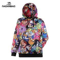 Gender: Women Item Type: Hoodies,Sweatshirts Clothing Length: Regular Brand Name: nadanbao apparel Fabric Type: Knitted Hooded: Yes Collar: O-Neck Sleeve Length: Full Pattern Type: Print pattern Sleev