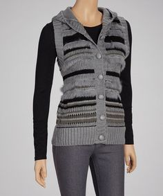 Take a look at this Gray Stripe Button-Up Sweater Vest by Ruby Rose on #zulily today!