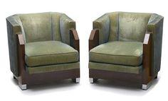 A pair of Czechoslovakian Art Deco chrome-mounted mahogany club  chairs circa 1925
