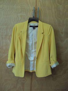 Anthropologie KENSIE Yellow Single Button Classic Blazer Jacket sz XS #Anthropologie #BasicJacket